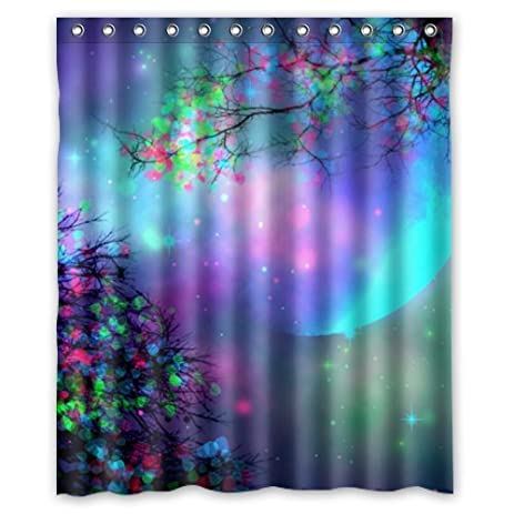 Beautiful Moon Shower Curtain  Hipster Purple Pink Mystical Blue Tree Moon  Bathroom Shower Curtains Polyester