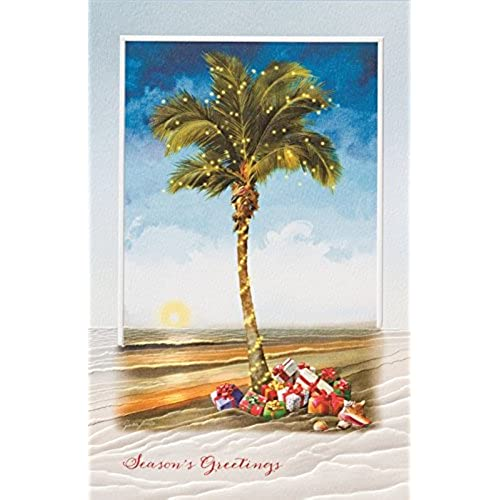 Palm tree christmas cards amazon decorated christmas palm tree with gifts 16 boxed holiday cards and envelopes m4hsunfo