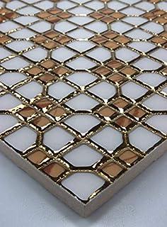 1 Matte Glasmosaik Mosaikfliesen Glas Edelstahl Gold Silber 8mm 15x15cm neu