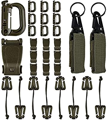 Amazon.com: 32 piezas tácticas molle accesorios para 2 molle ...