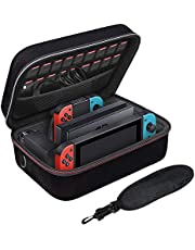 Nintendo Switch Carry Case Nintendo Switch Hard Case Protective Hard Shell Travel Carry Case Compatible with Nintendo Switch Console & Joycon & Accessory with Soft Lining & Shoulder Strap