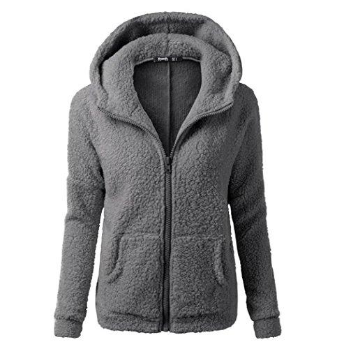 Ellie Hebe Women's Winter Front Zip Fleece Hoodie Dark Gray Asian 2XL (Gifts Womens Hoodie Zip)