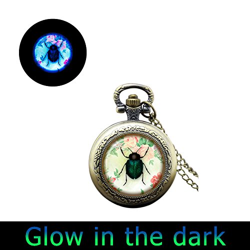 Bug Watch Necklace (Glowlala glowing Ladybug watch Necklace glow in the dark Insect glowing watch Jewelry Red and Black Lady Bug Art watch Pendant (3))