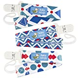 Baby Wings Original Dummy Clip - 3 Pack - Unisex Pacifier Clip for Boys and Girls with Funky Eye-Catching Design - Best Washable Dummy Holder With Plastic Clip For Baby's Favourite Sooth