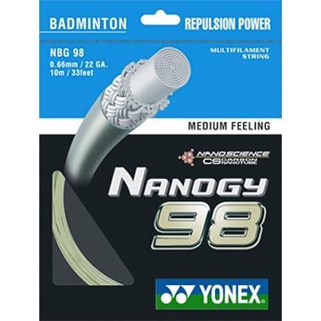 YONEX Nanogy 98medio sensación cordaje para raqueta de bádminton, Gris plateado