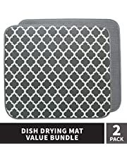 "STS 532401 Dish Drying Mat Value Pack, 2PK, 16"" x 18"", Solid Grey & Print Dark Grey Trellis"
