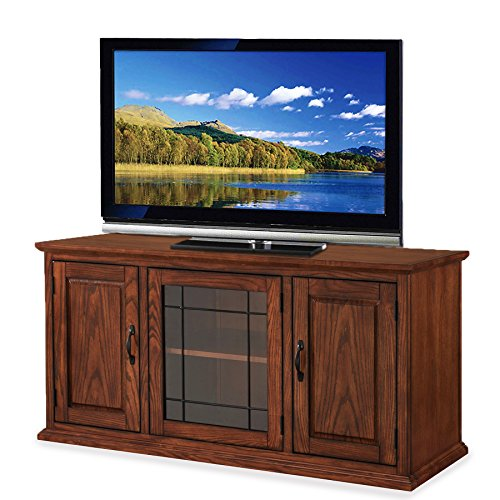 Leaded Glass Cabinets - Svitlife Oak Wood/Glass 50-inch Leaded TV Stand X Cabinet Media Inch Amish Traditional Solid Storage