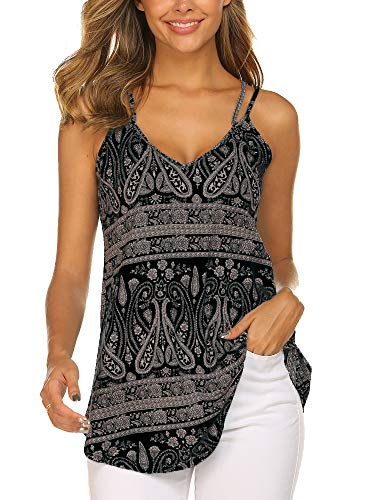 OURS Women's Paisley Printed Pleated Sleeveless Blouse Shirt Casual Flare Tunic Tank Top (Black, XXL)