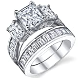 2 Carat Radiant Cut Cubic Zirconia CZ Sterling Silver Women's Engagement Ring Set Size 5