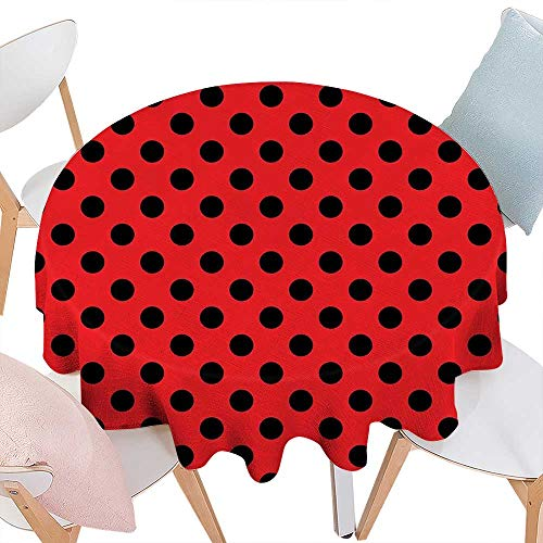 cobeDecor Red and Black Dinning Round Tabletop DecorRetro Vintage Pop Art Theme Old 60s 50s Rocker Inspired Bold Polka Dots Image Round Table Cover for Kitchen D36 Scarlet -