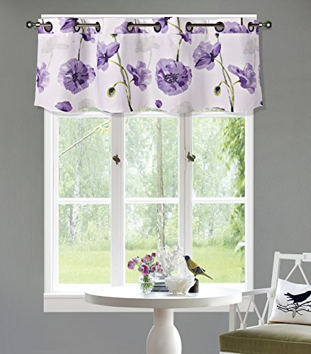 GorgeousHome DIMA#1 New Floral Print Faux Silk Blackout Lined Window Dressing Curtain Panel Valance Treatment in (Purple, 1PC Valance 54