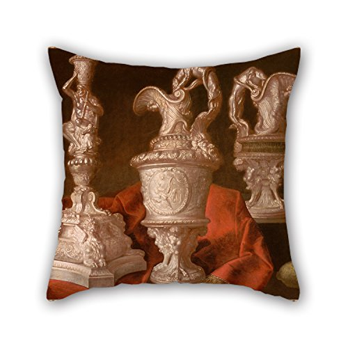 [Oil Painting Meiffren Comte - Nature Morte Au Flambeau D'argent Pillow Covers ,best For Pub,sofa,shop,home Office,dining Room,birthday 20 X 20 Inches / 50 By 50 Cm(two] (Wigs Au)