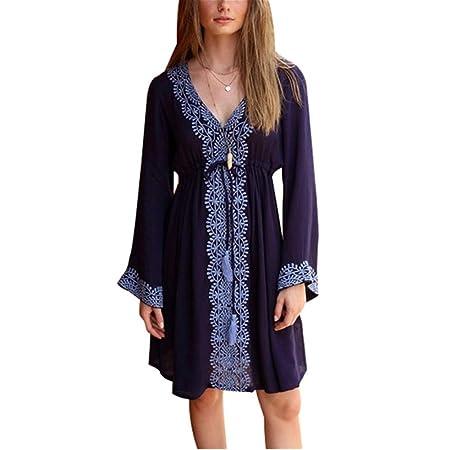 Bikini Cover up Blusa de playa bordada de algodón azul marino de ...
