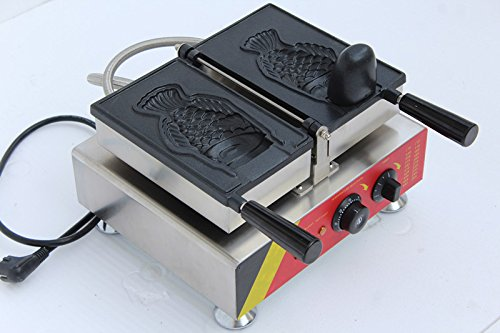 Commercial Ice Cream Taiyaki Waffle Machine Electric Japanese Taiyaki Fish Shaped Cake Machine 1-cavity Fish Waffle Maker Baker (110V) by YUCHENG TECH