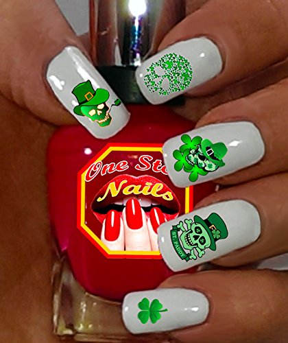 (St Patrick's Day Nail Art Decals (Tattoo). Shamrock, Green, Skull, Clover, Luck. Set of 50 Waterslide Nail Art Decals. OSN-SPD005-50 by one Stop)