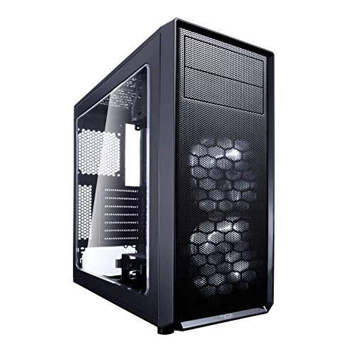Fractal Design Focus G - Mid Tower Computer Case - ATX - High Airflow - 2X Silent ll Series 120mm White LED Fans Included - USB 3.0 - Window Side Panel - Black