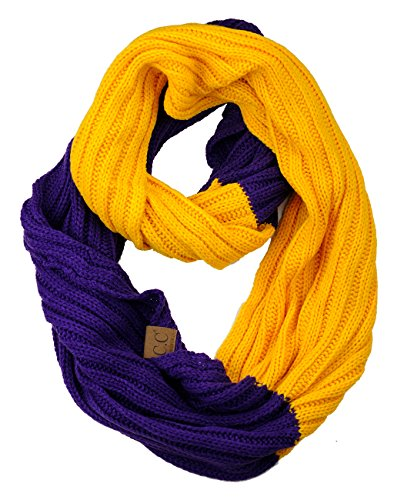 C.C Unisex College High School Sport Team Color Two Tone Winter Knit Scarf