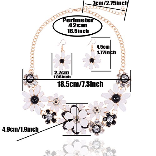 Yuhuan Flower Chunky Statement Necklace Rhinestone Costume Jewelry for Women (Black and White) - http://coolthings.us