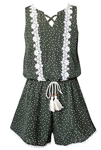 Smukke, Big Girls Vintage Lace Trimmed Sleeveless Summer Romper with Pockets, 7-16 (Olive Green, 12)