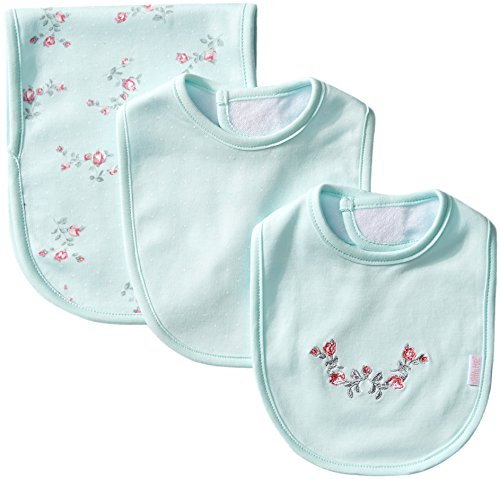 Little Me Baby Girls' 3 Piece Bib and Burp Set, Floral, Mint Print, One Size