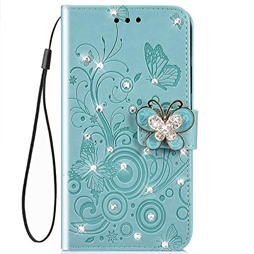 - IKASEFU Shiny butterfly Rhinestone Emboss blossom Floral Pu Leather Diamond Bling Wallet Strap Case with Card Holder Magnetic Flip Cover Case Compatible with iPhone 7 plus/8 plus,Green