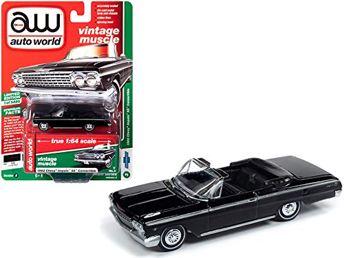 Auto World 1962 Chevrolet Impala SS Convertible Tuxedo Black Vintage Muscle Limited Edition to 5,480 Pieces Worldwide 1/64 Diecast Model Car 64222-CP7600