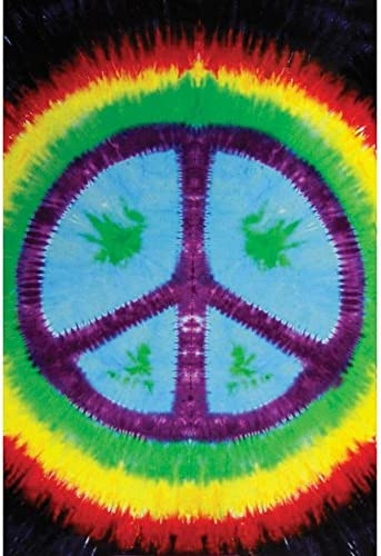 Old Glory Sunshine Joy Rainbow Tie-dye Peace Sign Tapestry – Hanging Wall Art – Beach Wrap 85X100 inches