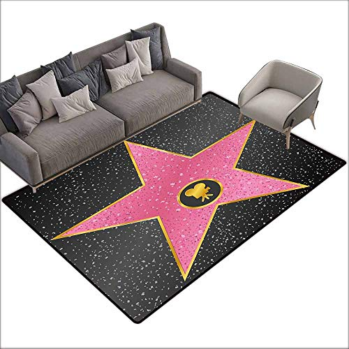 Bath Rug Slip Popstar Party Hollywood Walk of Fame Symbol Celebrity Entertainment Culture Durable W6' x L8'10 Charcoal Grey Pale Pink (Most Stars On Hollywood Walk Of Fame)