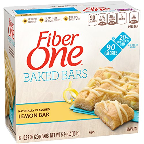 Fiber One 90 Calorie Soft-Baked Bar, Lemon Bar, 6 Fiber Bars, 5.34 oz
