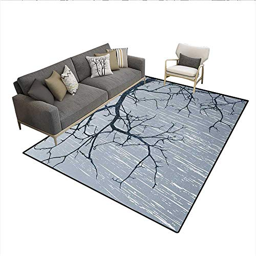 Carpet,Illustration of Bare Branches in Winter Cold Weather Stormy Day Artistic Design Art Print,Outdoor Rug,GraySize:6'6