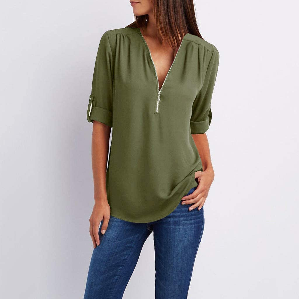 Womens Chiffon Roll up Sleeve T Shirts V Neck Loose Tunic Tops Zip up Lightweight Summer Casual Blouse Plus Size for Business Office