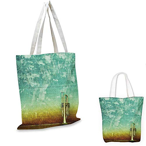 Music royal shopping bag Old Aged Worn Single Trumpet Stands Alone Against a Faded Wall Jazz Theme Photo funny reusable shopping bag Sea Green Brown. 12