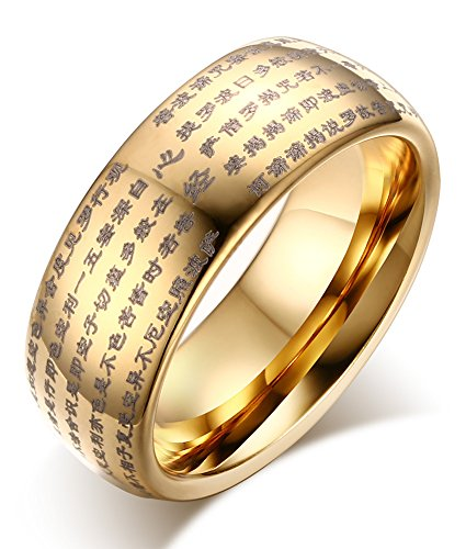 (Mealguet Jewelry Gold Plated Genuine Tungsten Carbide Chinese Heart Sutra Engraved Domed Wedding Rings Band,Comfrot fit,Size 9)