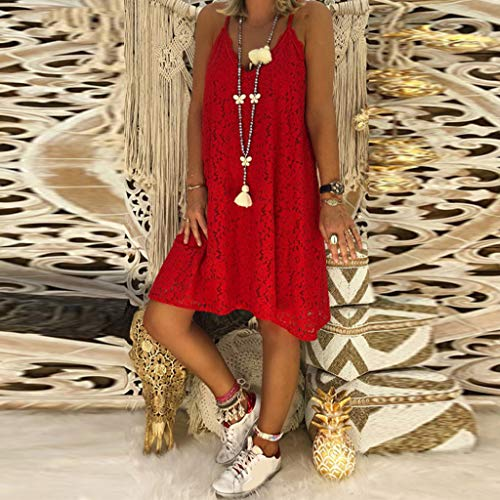 Women Dresses for Party V Neck Basic Solid Spaghetti Strap Summer Casual Loose Lace Mini Dress Plus Size Red