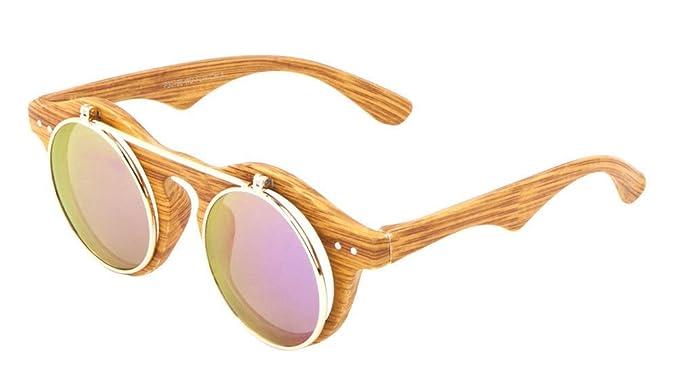 16376d6b83 Amazon.com  Faux Wood Frame Iridium Mirror Lenses Flip Up Sunglasses ...