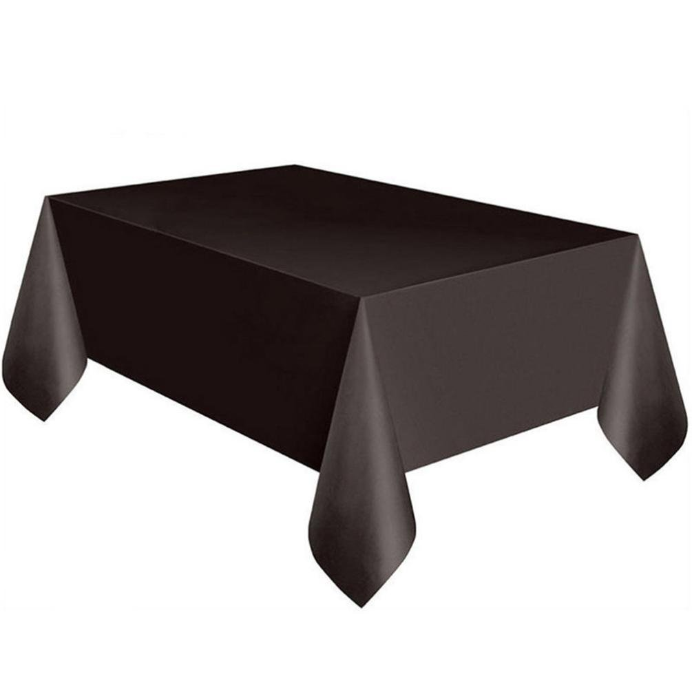 lotus.flower Party Essentials Heavy Duty Plastic Table Cover Available Rectangle Wipe Clean Party Tablecloth Covers (Black)
