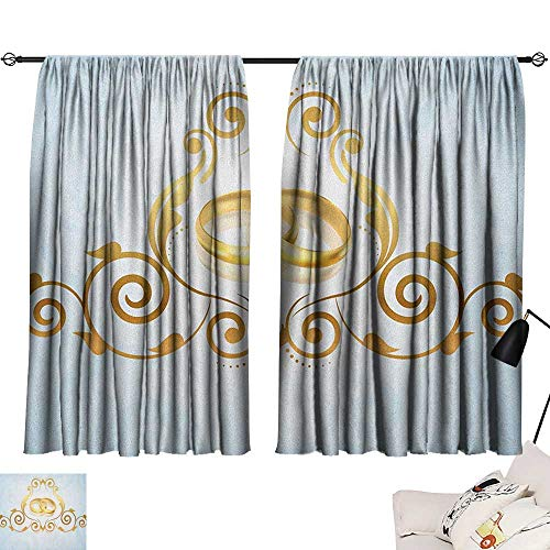 Warm Family Wedding Thermal Curtains Vintage Style Victorian Ornaments on Blue Backdrop Rings Classical Celebration Set of Two Panels 63