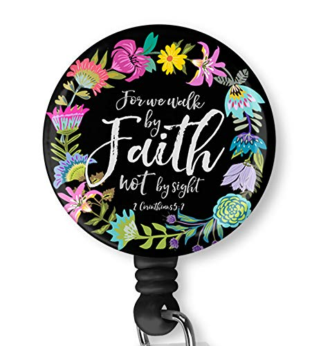 Inspirational Quote for We Walk by Faith Not by Sight Retractable ID Card Badge Holder with Alligator Clip, Name Nurse Decorative Badge Reel Clip on Card Holders