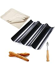 French Bread Pan Baguette Baking Tray Set, Nonstick Perforated Baguette Pan and Cutter Proofing Cloth for Baking, 2/3/4 Wave Loaves Loaf Bake Mold Toast Cooking Bakers Oven Toaster Pan