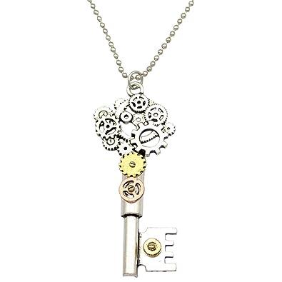 Q&Q Fashion Ornate Silver Skeleton Key Watch Clock Hand Gear Cog Steampunk Bead Chain Necklace 1Vn8m9K5