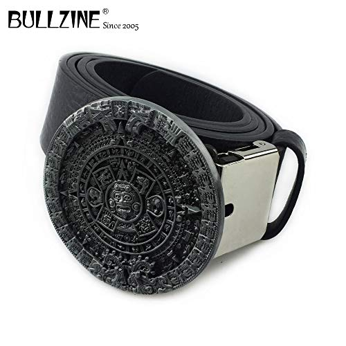 Pewter Belt Buckle Aztec Calendar - Buckes - The Aztec Calendar Circle Belt Buckle with Pewter Finish with PU Belt with Connecting Clasp FP-03217 Drop Shipping