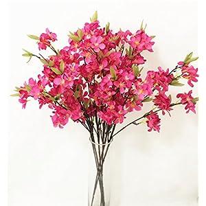 jiumengya 6pcs Fake Apple Blossom Flower Branch Begonia Apple Tree Stem for Event Wedding Tree Artificial Decorative Flowers 108