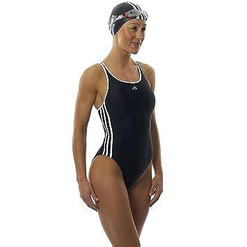 Adidas Infinitex Damen Badeanzug 3 Streifen Schwarz