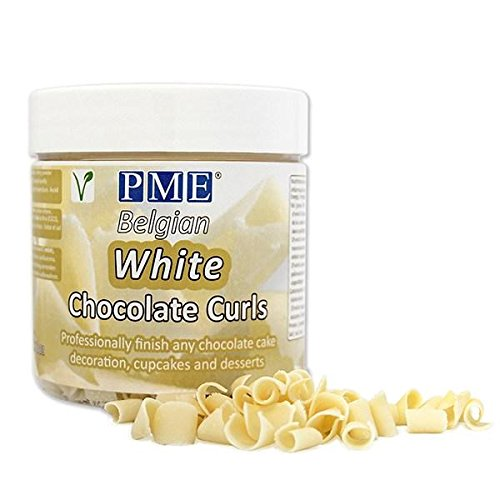 PME Belgian White Chocolate Curls for Decorating Cake Muffin Cupcake Dessert 85g (Chocolate Cakes Cream Ice)