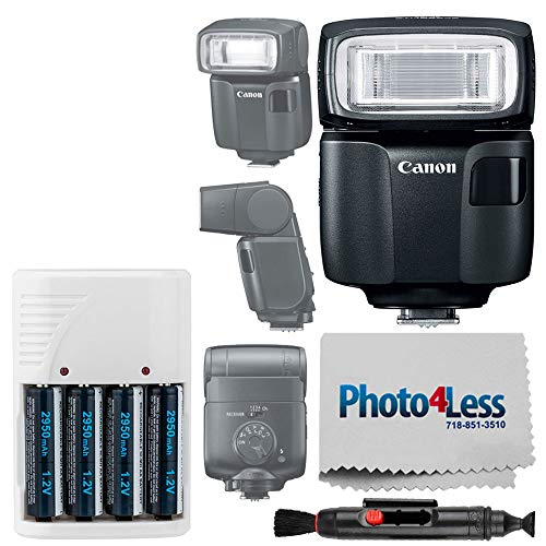 Canon Speedlite EL-100 Flash + Off Camera Flash Cord + 4 AA Batteries & White Charger + Flash Bracket + Universal Soft Flash Diffuser + Lens Cleaning Pen – Top Flash Accessory Bundle]()