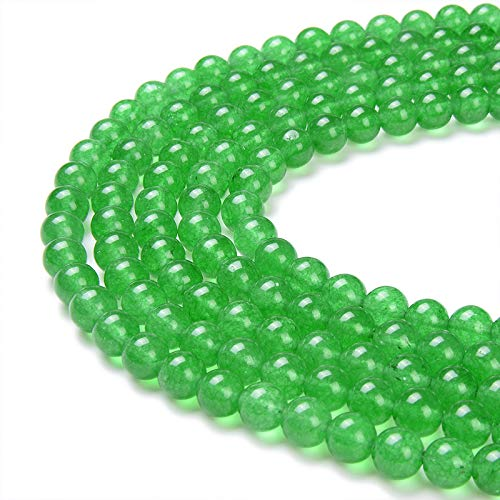 PLTbeads Gorgeous Green Dyed Jade Natural Gemstone Loose Beads 6mm Smooth Round Approxi 15.5 inch DIY Bracelet Necklace for Jewelry Making