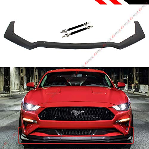 Fits for 2018-2019 Ford Mustang GT Ecoboost Performance Pack Style Add-On Front Bumper Lip Splitter + Adjustable Black Splitter Rods Bars (Best Cars For Tuning 2019)