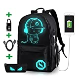 Luminous School Backpack,Horsky Anime Cartoon Music Boy Lightweight Shoulder Laptop Travel Bag Daypack College Bookbag Night Light for Unisex Students with USB Charging Port,Lock and Pencil Case 35L
