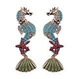 Olsen Twins Ocean Beach Shell Starfish Sea Horse Earrings, Rhinestone Enamel Long Stud Earrings (Light Blue)