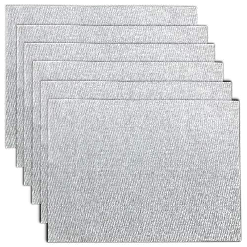 CAIT CHAPMAN HOME COLLECTION Holiday Woven Texture Design PVC Rectangular Heat Insulation Texteline Placemat (Silver), Set of 6 (Silver Metallic Table Placemats Linens)